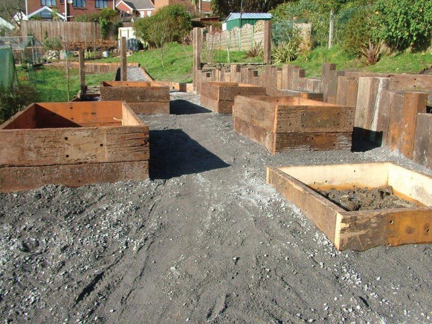 Railway sleeper reclaimed planks for planters llanelli