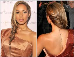 Leona Lewis with a loose fishtail plait swept to the side. Ask you hairdresser to do a loose fishtail.
