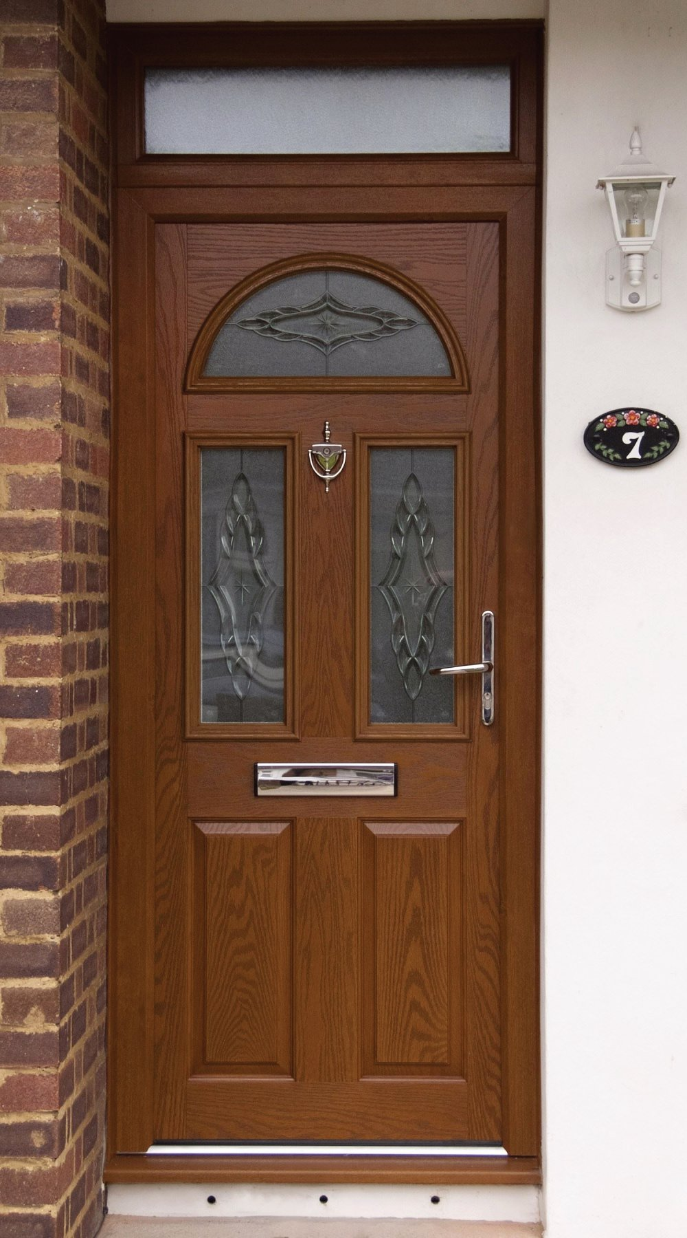 Light Oak composite door. Waterfall bevelled glass with stippolite backing. Rochford, Essex.