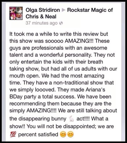 Local Morehead City Magicians Chris and Neal Facebook Birthday Party Review