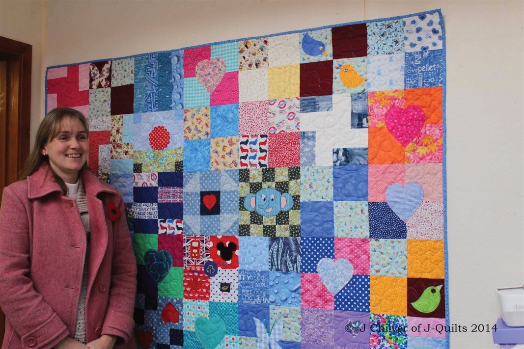 Barbara Fynn at my studio collecting the quilt