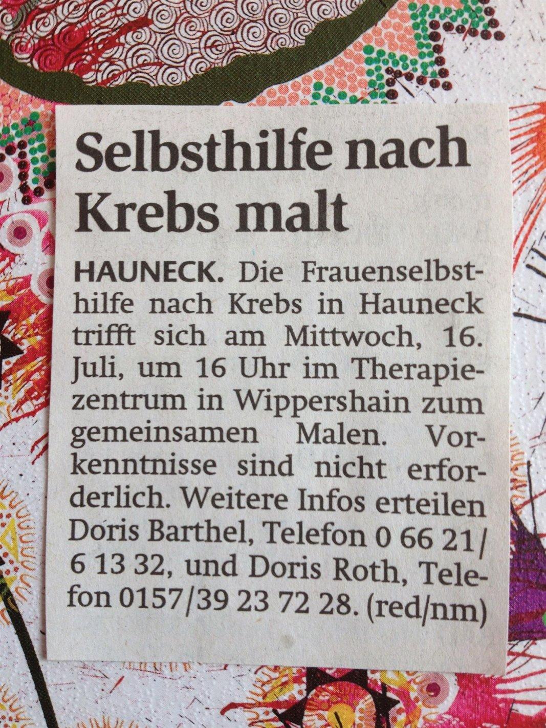 Selbsthilfe nach Krebs-Therapeutisches Malen mit Regina Landsiedel-Gerlach