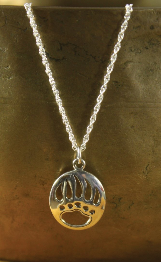Sterling Silver Bear Paw Pendant Necklace