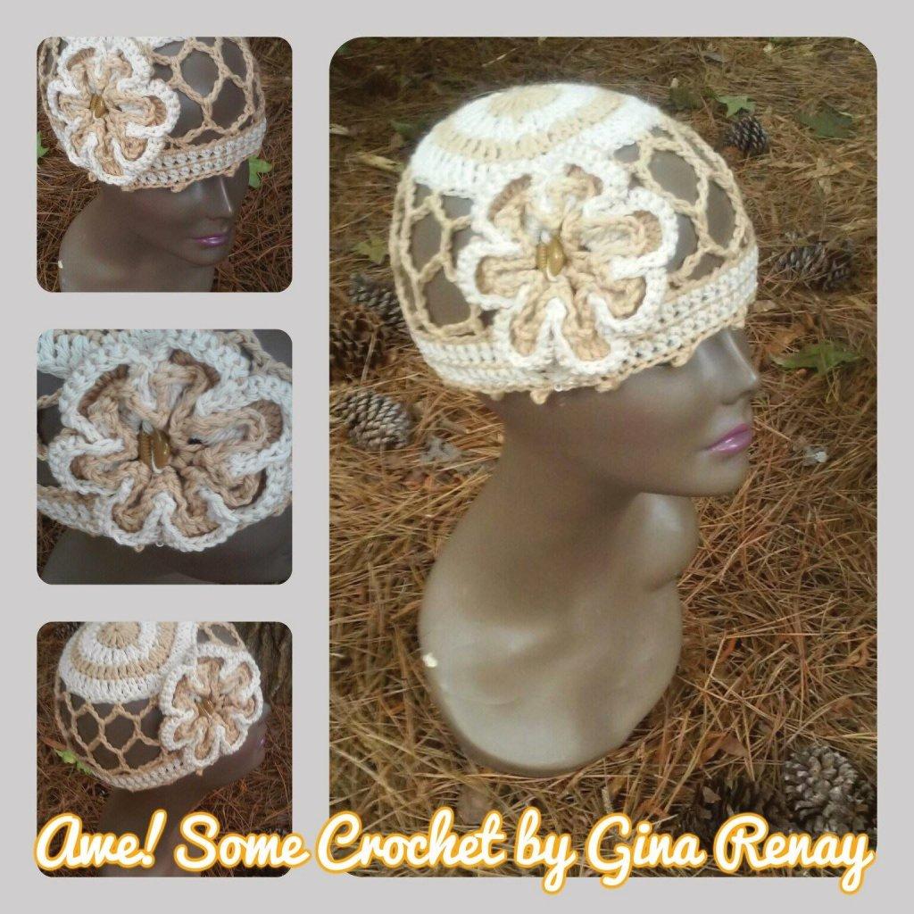 Cotton crochet mesh hat flower SPR05-306