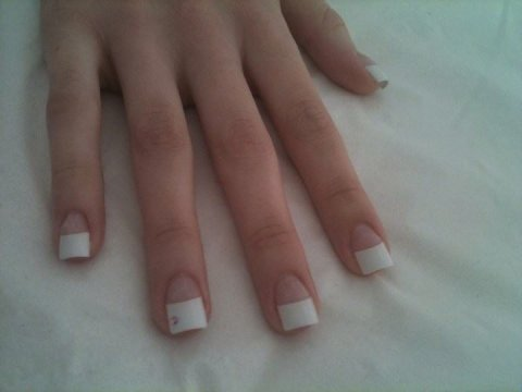acrylic nails with white tips