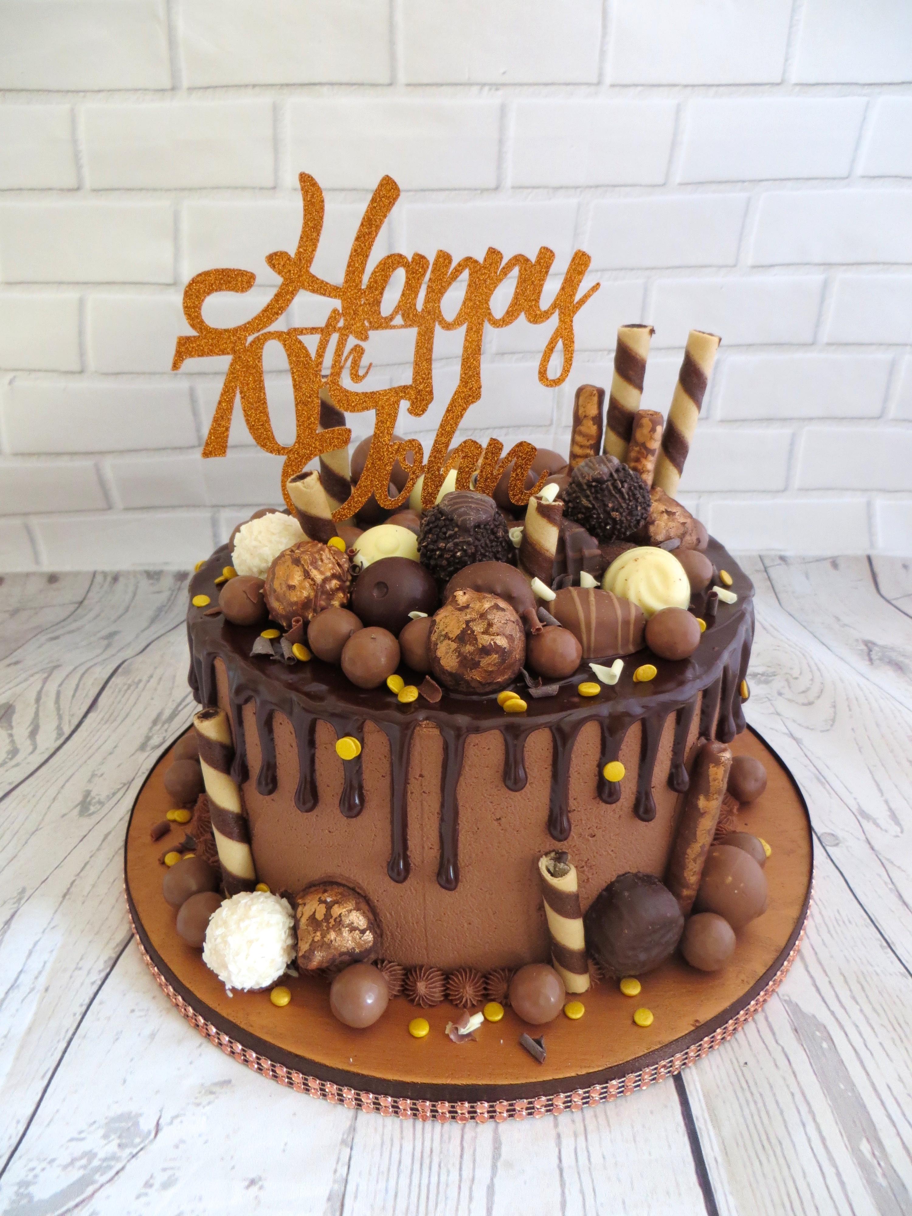 Amazing 70Th Birthday Bronze Drip Cake Funny Birthday Cards Online Overcheapnameinfo