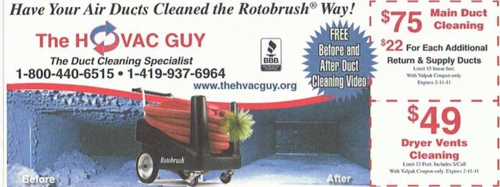 A great way to save money on your air duct cleaning is ask for our coupon