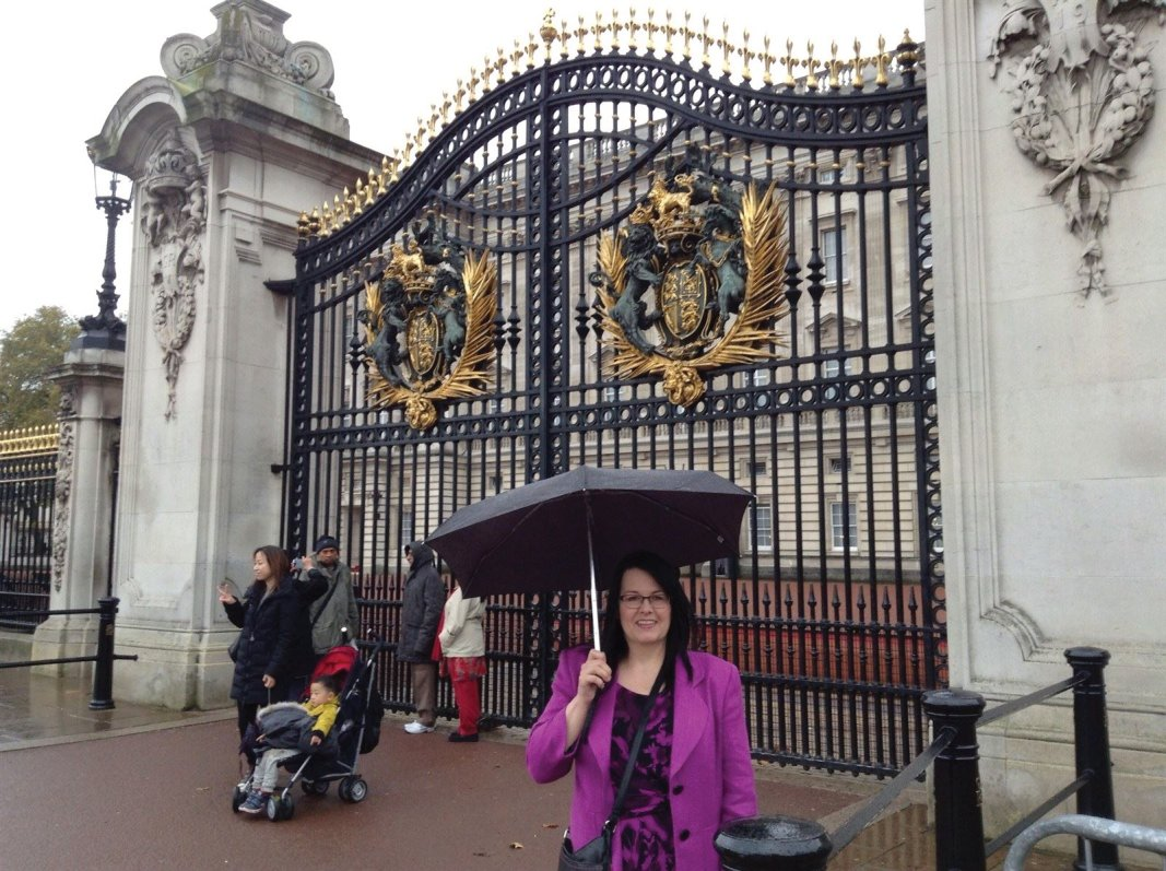 Me today in the rain before going into Buckingham Palace for the event
