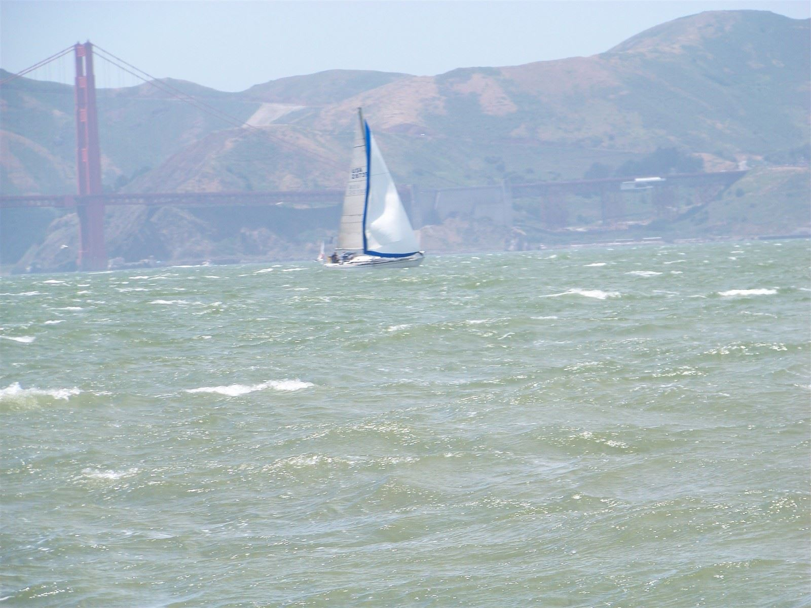Sailboat and Golden Gate : Sailing in San Francisco Bay, Golden Gate