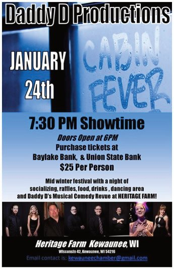 Daddy D Productions Green Bay Dinner Theatre presents Kewaunee Cabin Fever at Heritage Farm