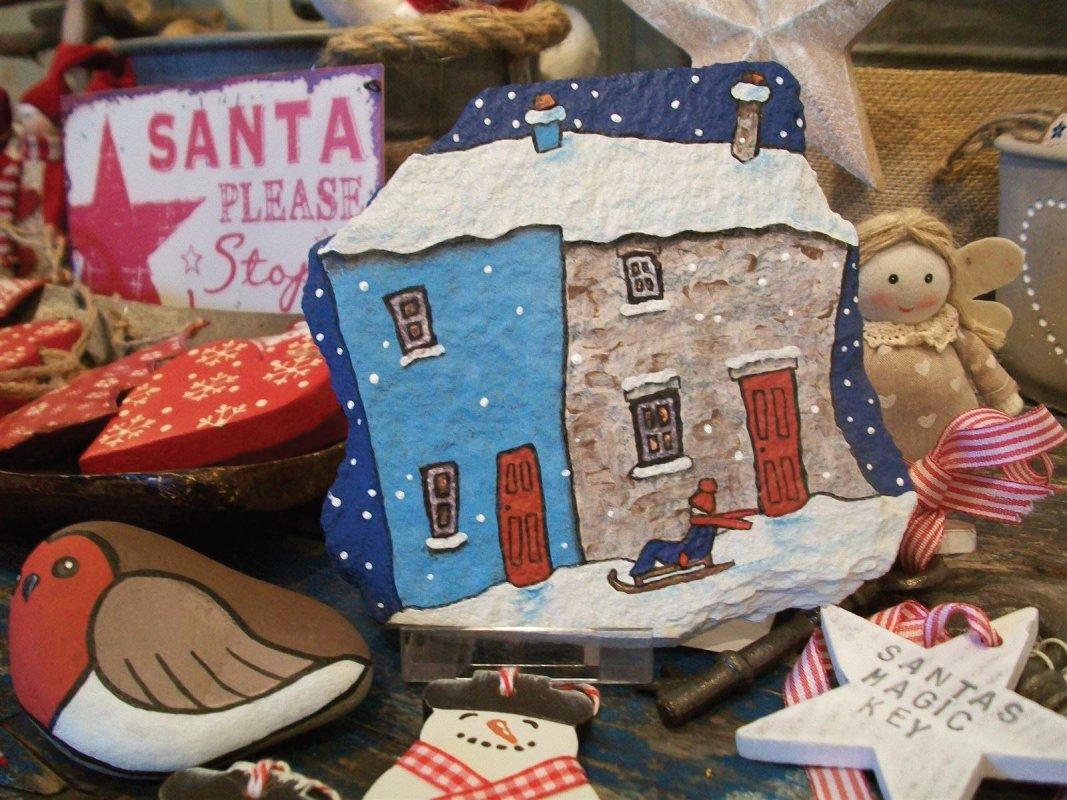Hand painted pebbles and slate, Santa's Magic Key