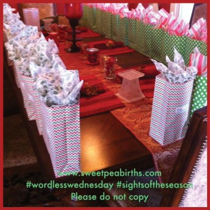 : Favor bags for our annual Santa Party for Sweet Pea Births families