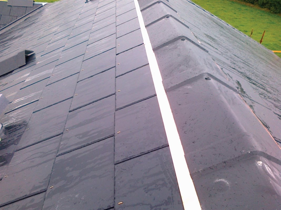 New Roof. Fibre cement slating. Moss prevention.  Loais