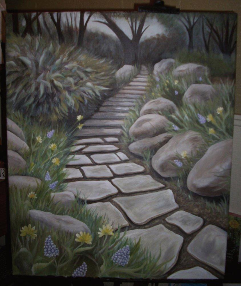 a beautiful stone pathway