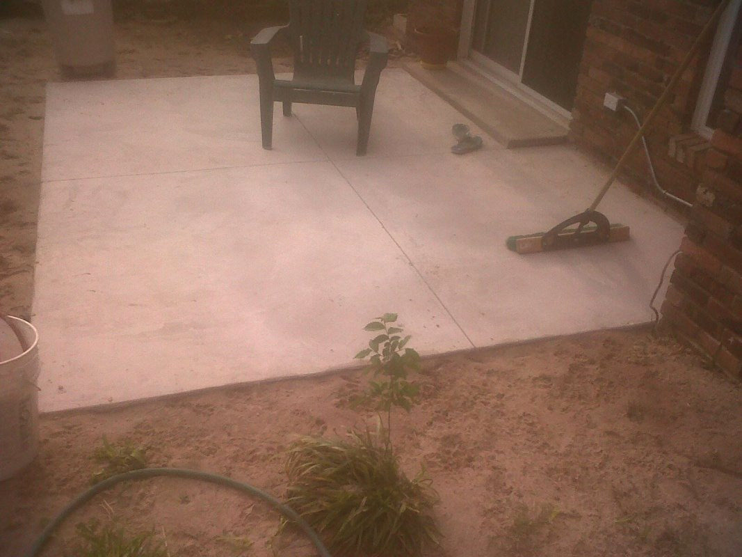 Concrete work, patio completed