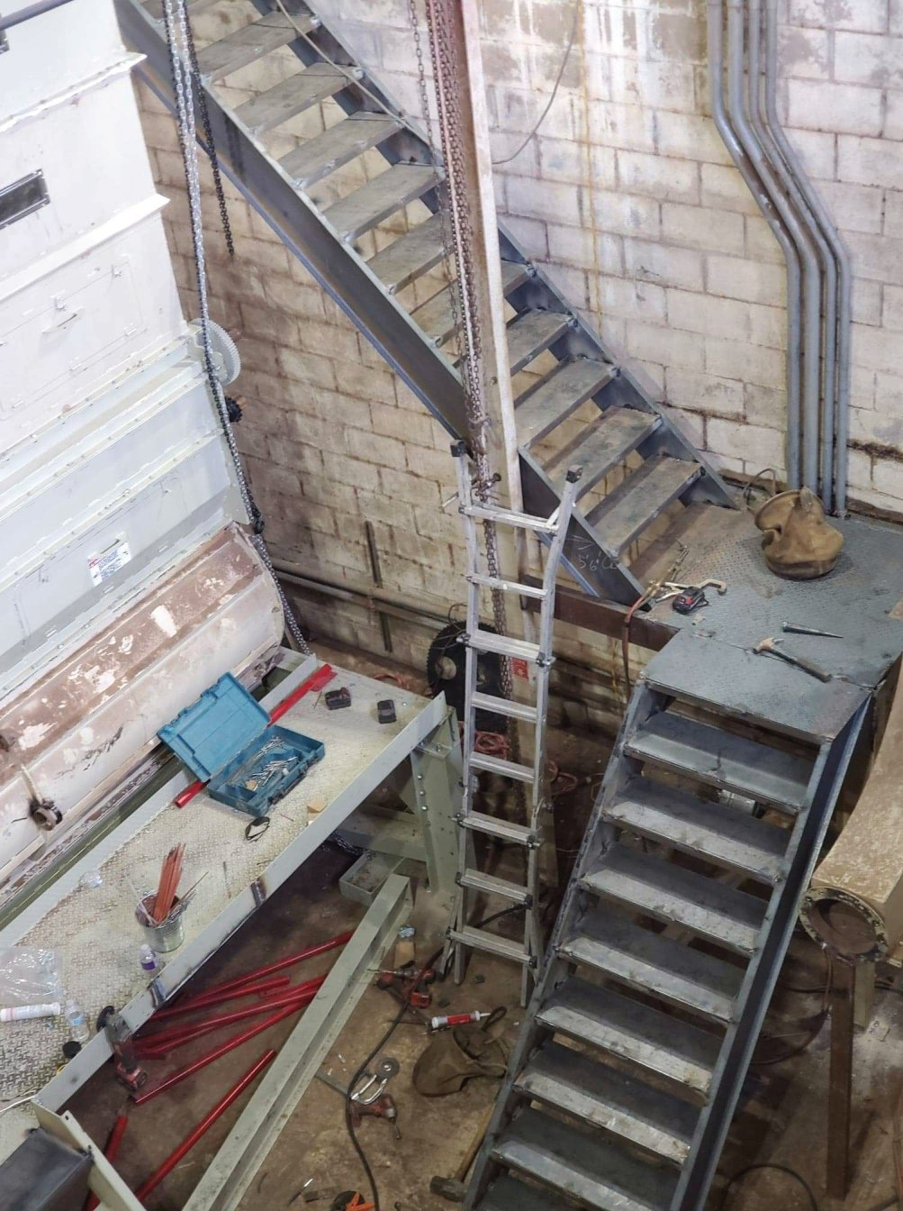Stairs and platforms in cotton gin. We can do it all folks!
