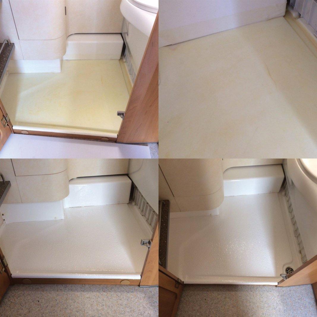 réparation et restauration bac de douche caravane ou camping car fibre de verre et gelcoat blanc.