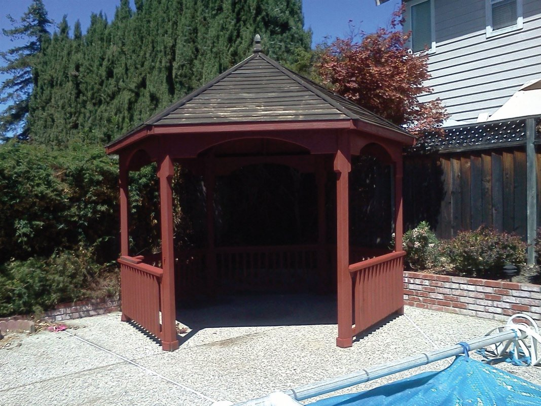 Gazebo F(1) Exterior wood staining, residential painting, Castro Valley painting contractor