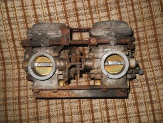 XS250 Special Mikuni CV carbs prior to ultrasonic cleaning with special solution for corrosion