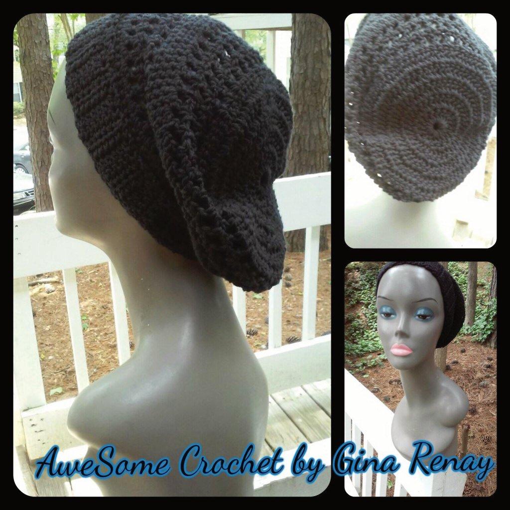 Cotton crochet black slouchy hat SPR05-307