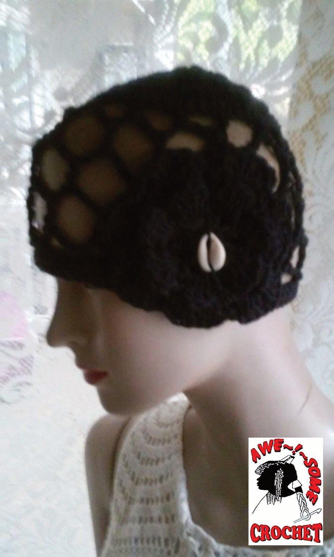 Cotton crochet black hat  SPR05-309