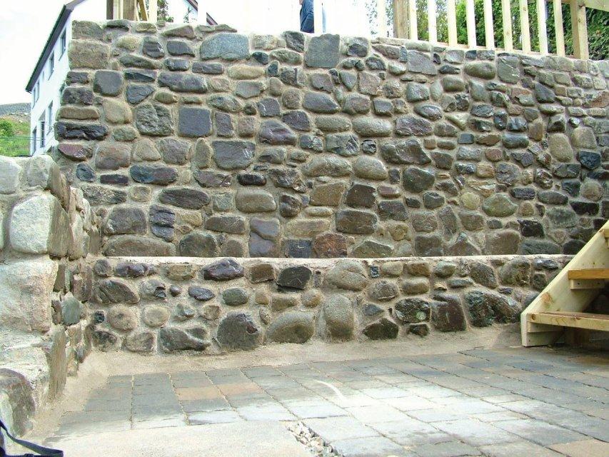 Stone retaining wall New Quay Ceredigion