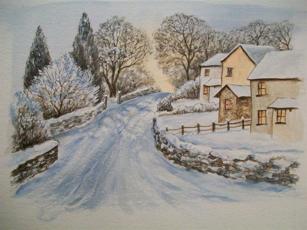 Silverdale Road, Arnside in the snow
