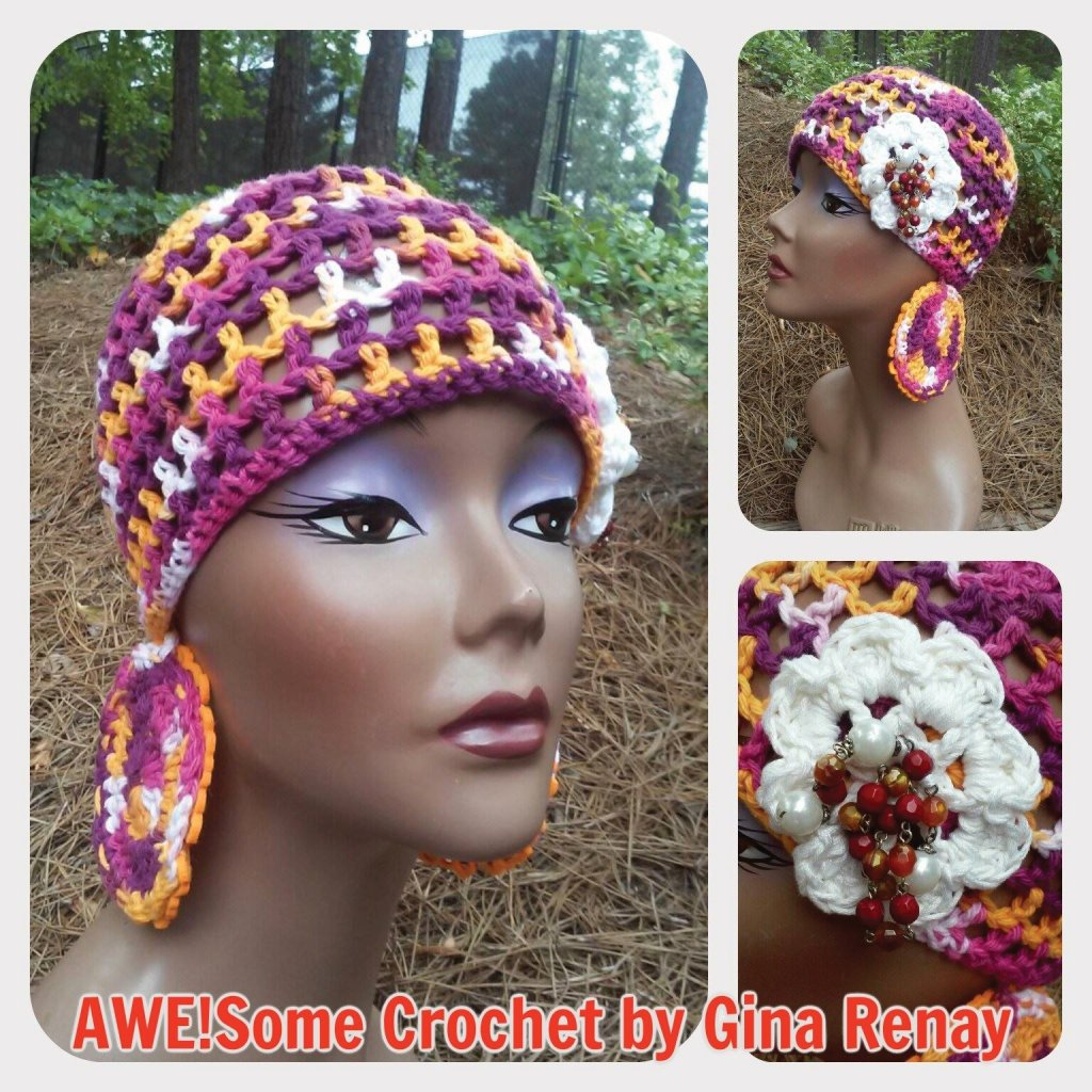 Cotton crochet variegated with earrings SPR05-304