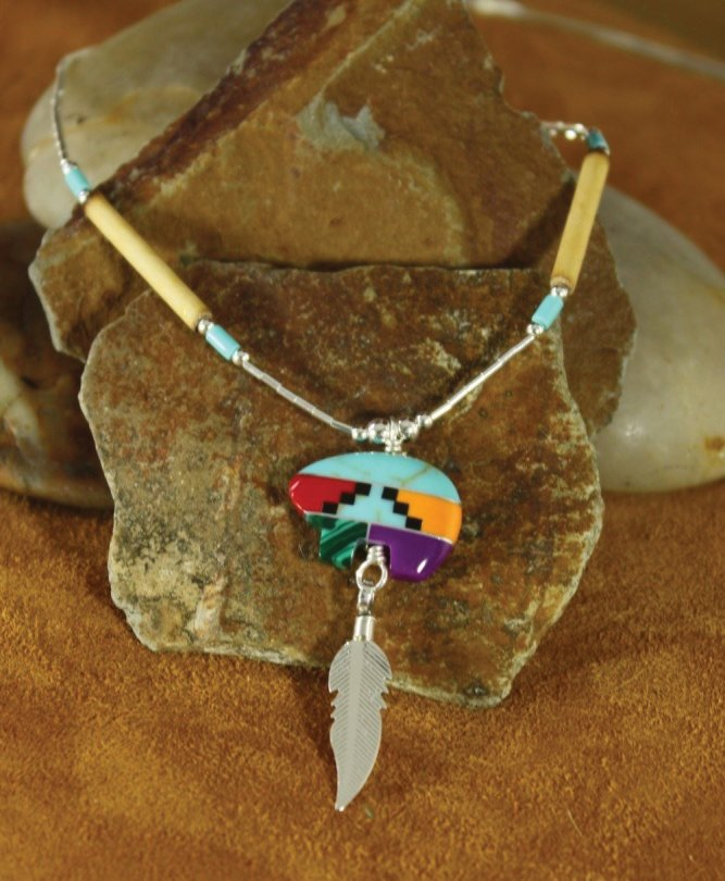 Multi Coloured Inlaid Zuni Bear Necklace