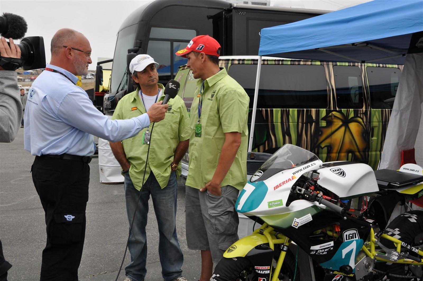 EP Designer Rolando Ortiz & LGN Team Pilot Marcelino Manzano being interviewed by FIM at the 2011 MotoGP Laguna Seca.