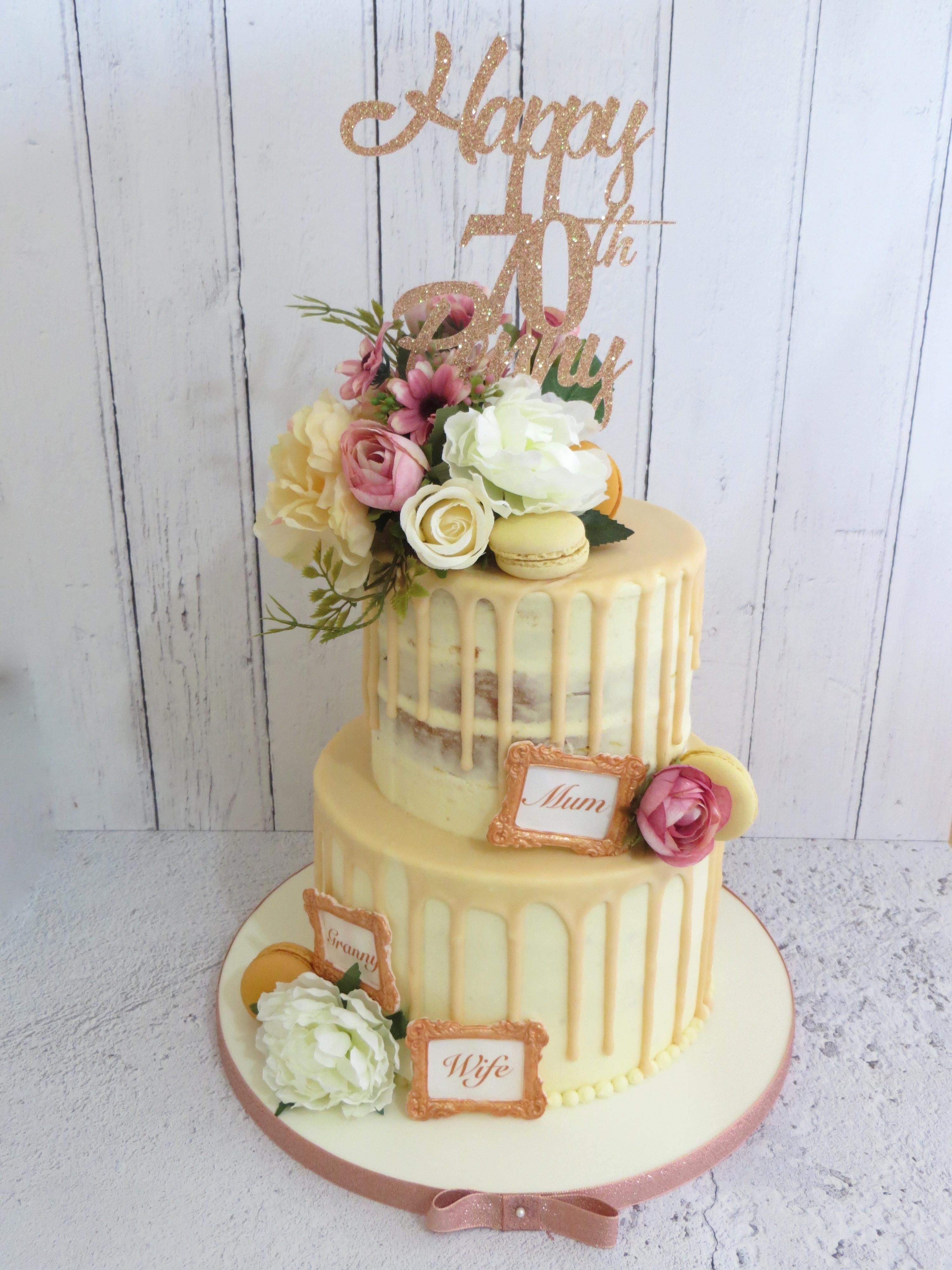 Brilliant 70Th Birthday Two Tier Drip Cake Funny Birthday Cards Online Overcheapnameinfo