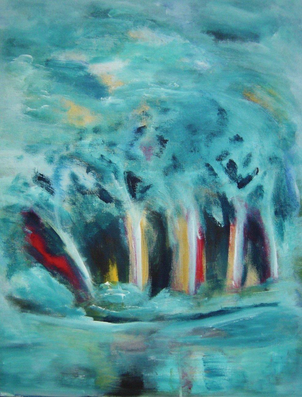 nat, magisk skov  malet i akryl