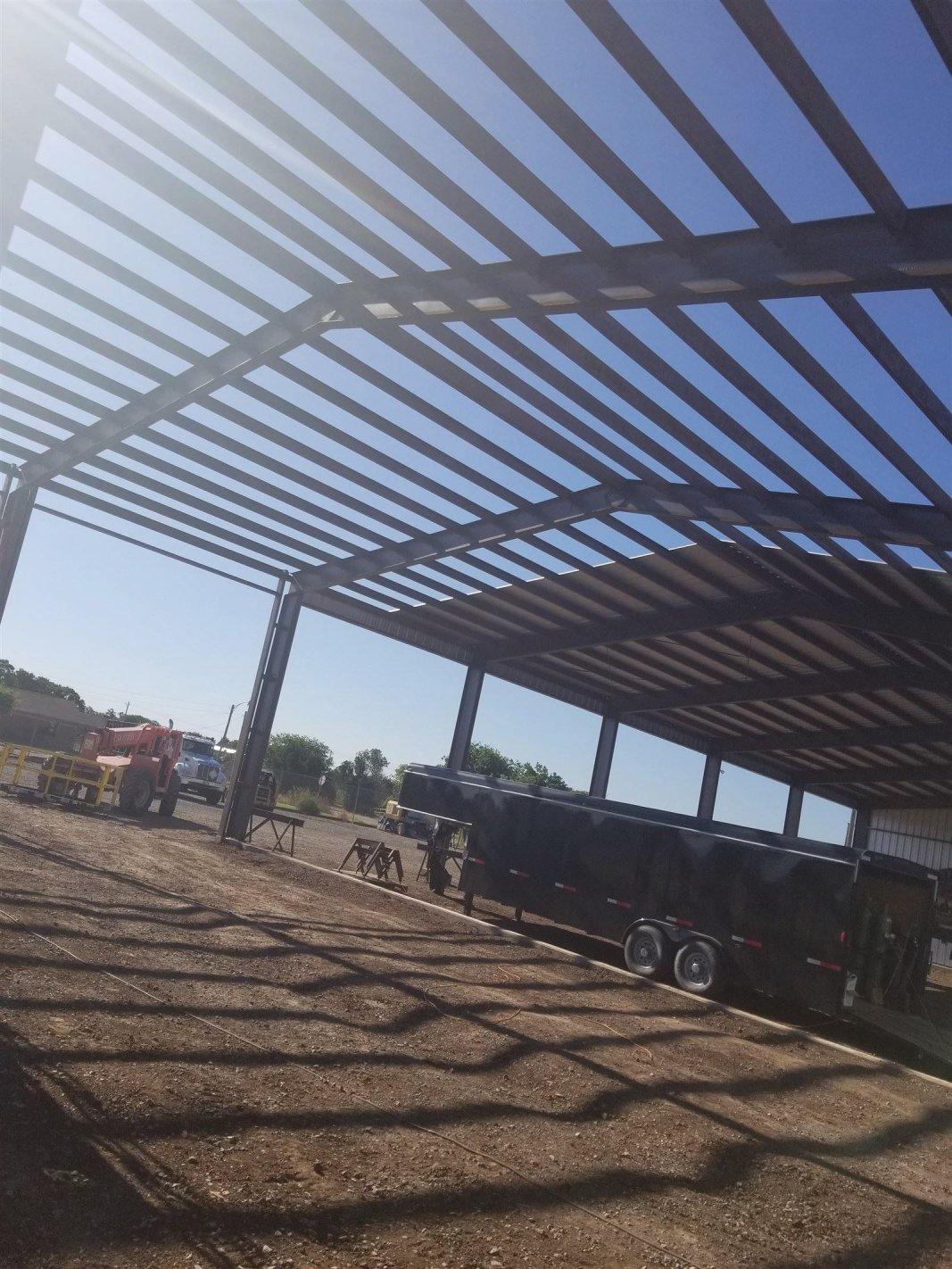 : Metal sheeting going on