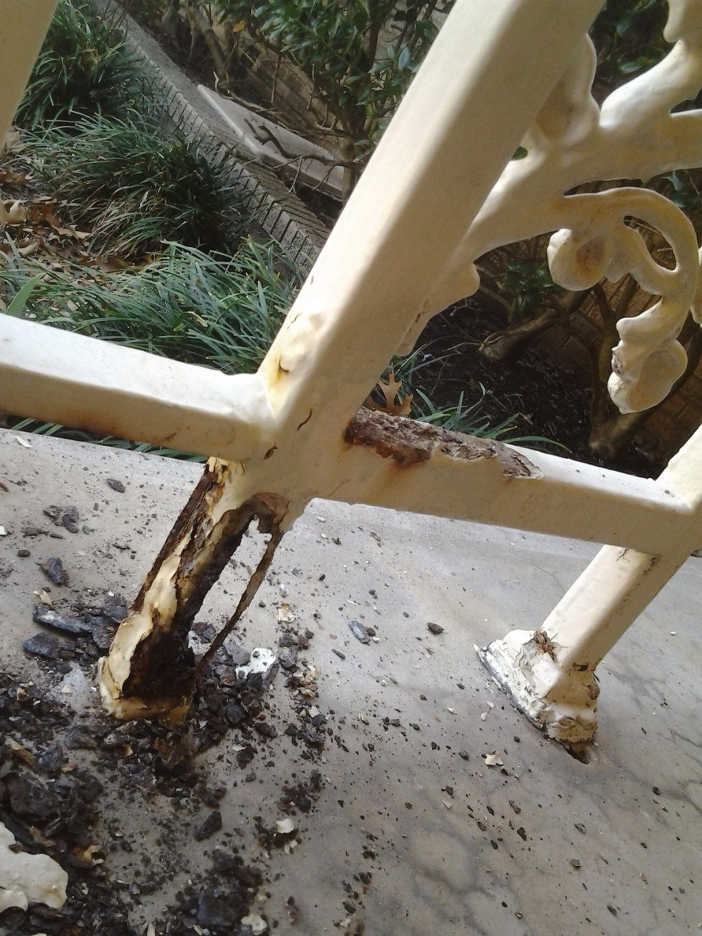 rail leg rotted out