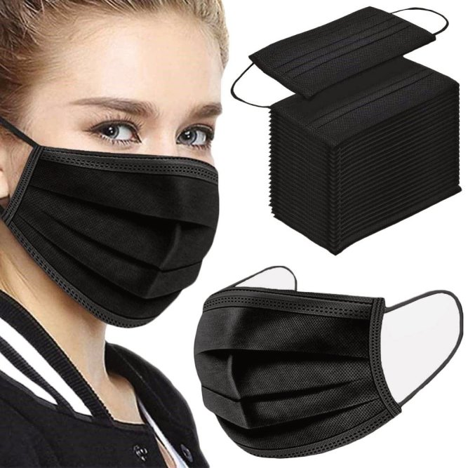 50PCS 3 ply black disposable face shield from Amazon