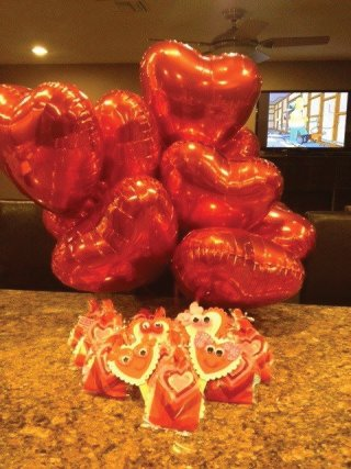 Balloons and Valentines gift bags
