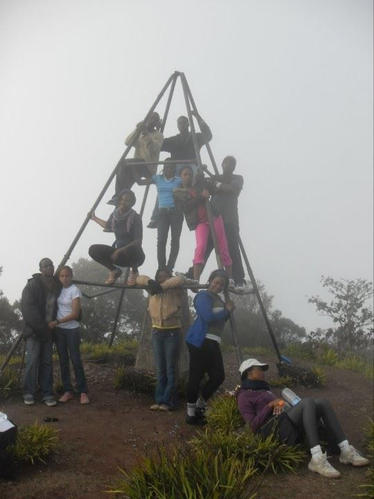 We are here Amen : We did it and now the proof!. Vistaprint staff on the top of the Blue Mountain