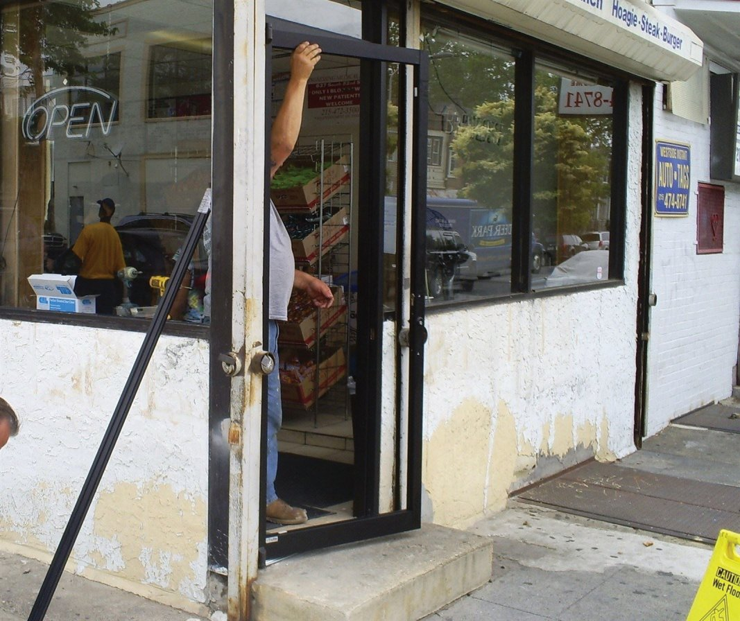 : Installing the new commercial door frame