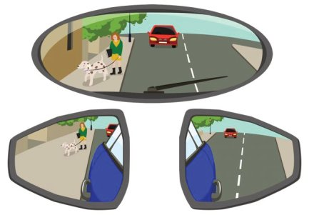 Interior rearview mirror and view of the two side convex mirrors.