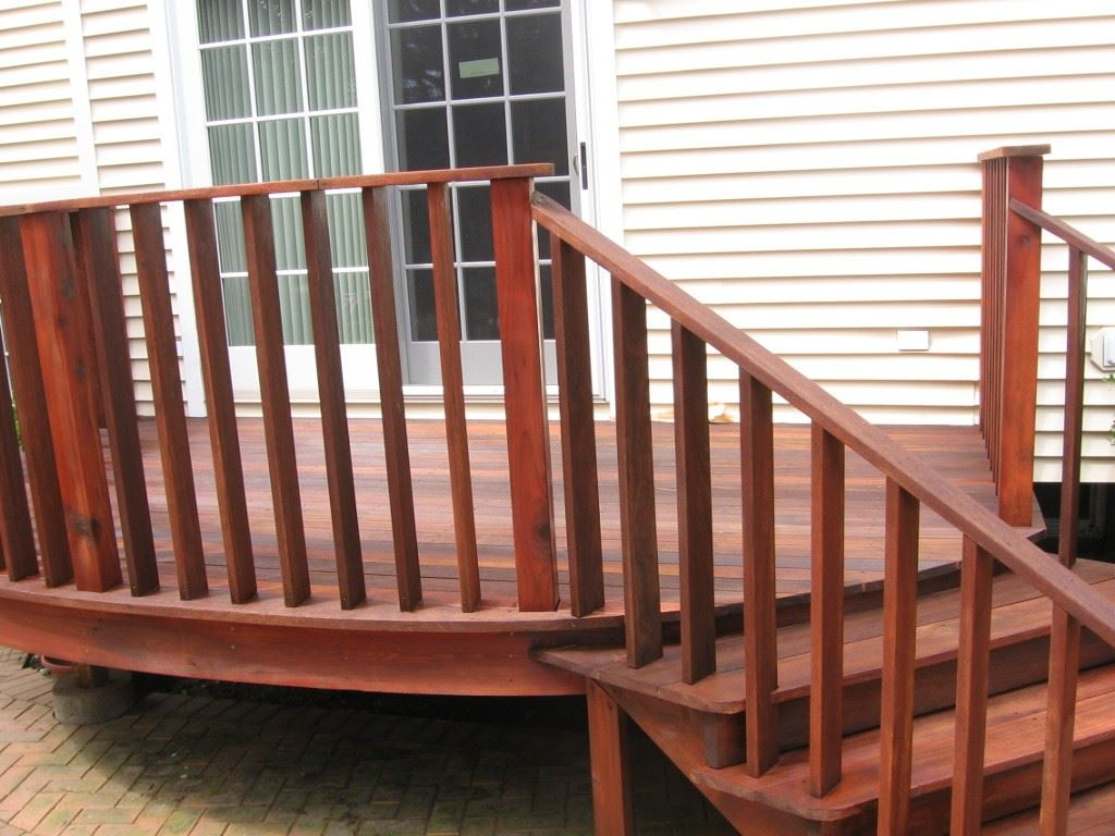 After staining with Cabots Mahogany Flame