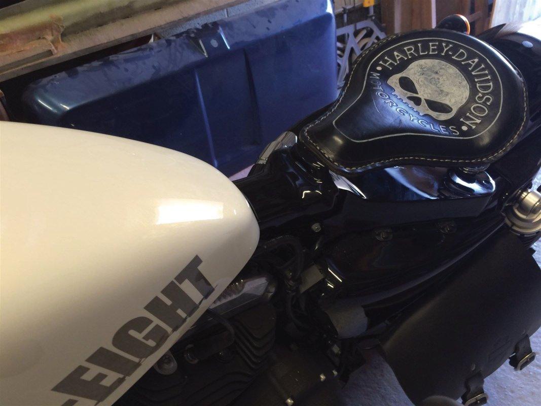 Cache pour cadre en fibre de verre pour Harley Forty Eight.