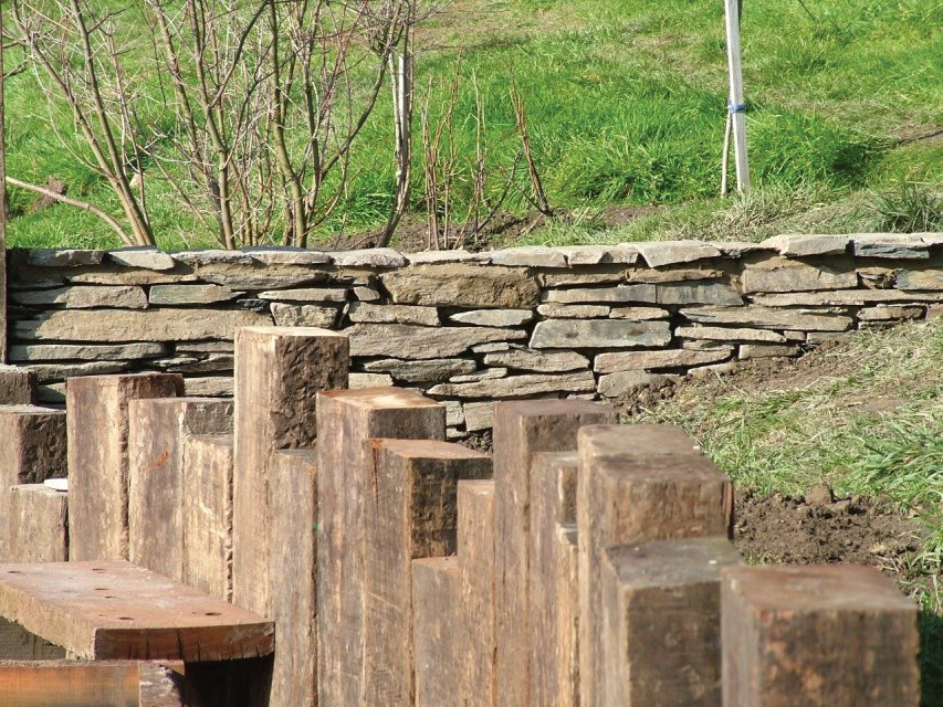 Slate stone wall west wales landscaping