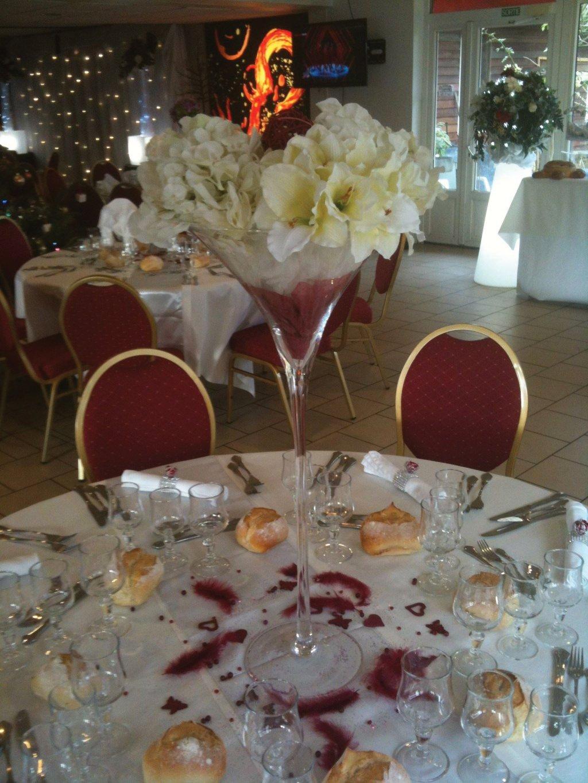 Coupe Martini Ht 70 cm, fleurs artificielles