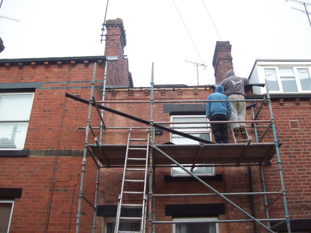 gutter replacement  and repointing of brickwork in chapel allerton leeds  all work carried out by leeds pointing