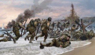 Assault on Omaha Beach Print by Simon Smith with Normandy Commrmorative Book