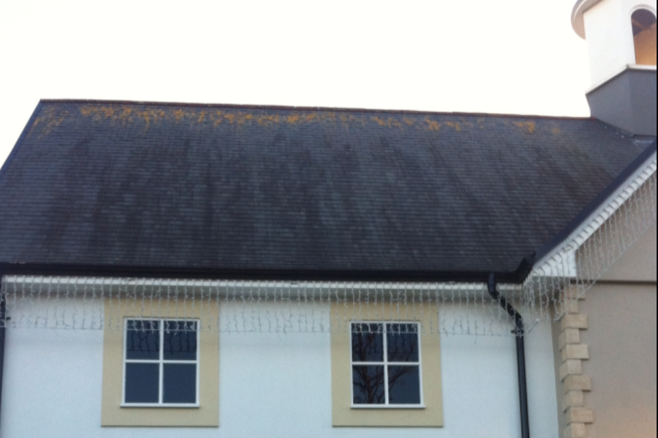 Before pic natural slate roof kildare village. Dark algae and lichen.