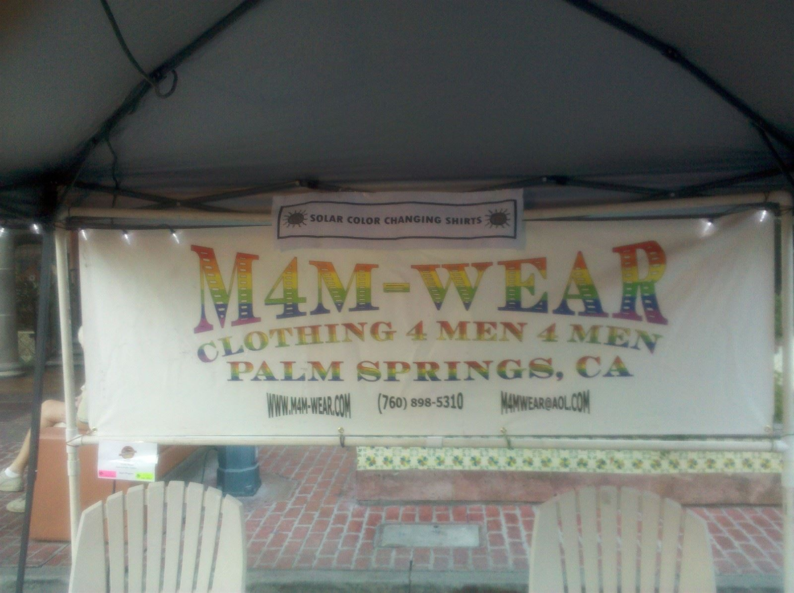 M4M-WEAR Booth at Palm Springs Village Fest Sign