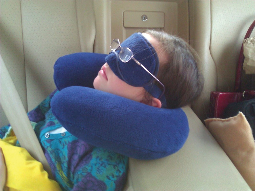 My daughter has road-trip-sleeping all figured out.