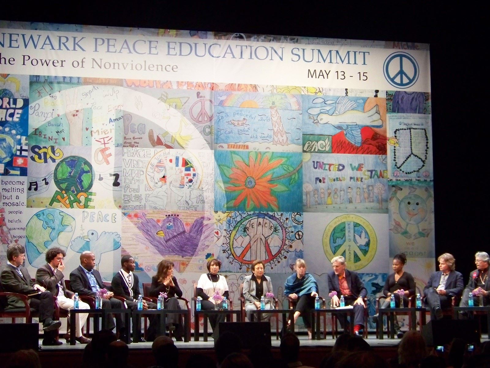Peace Mural @NewarkPeace : Panelists onstage at the Newark Peace Education Conference, May 2011