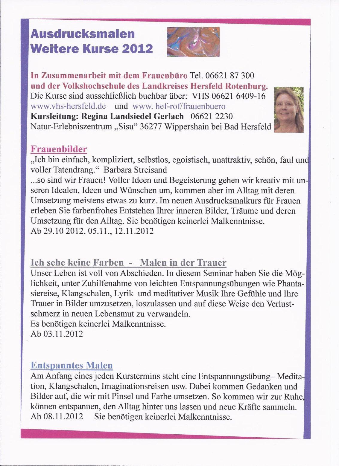 Kursangebot - Ausdrucksmalen Herbst 2012 VHS und Frauenbüro Bad Hersfeld-Rotenburg